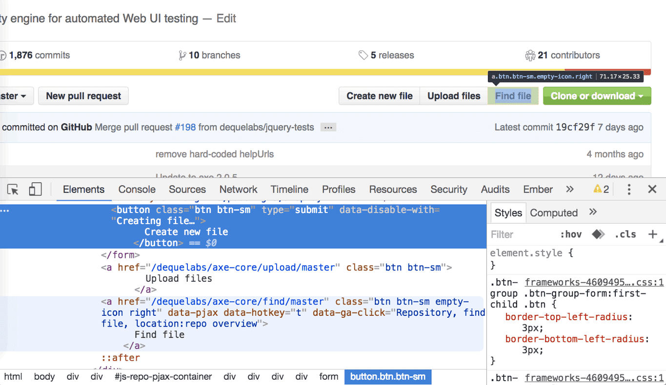 Github with developer tools open showing buttons next to identical links