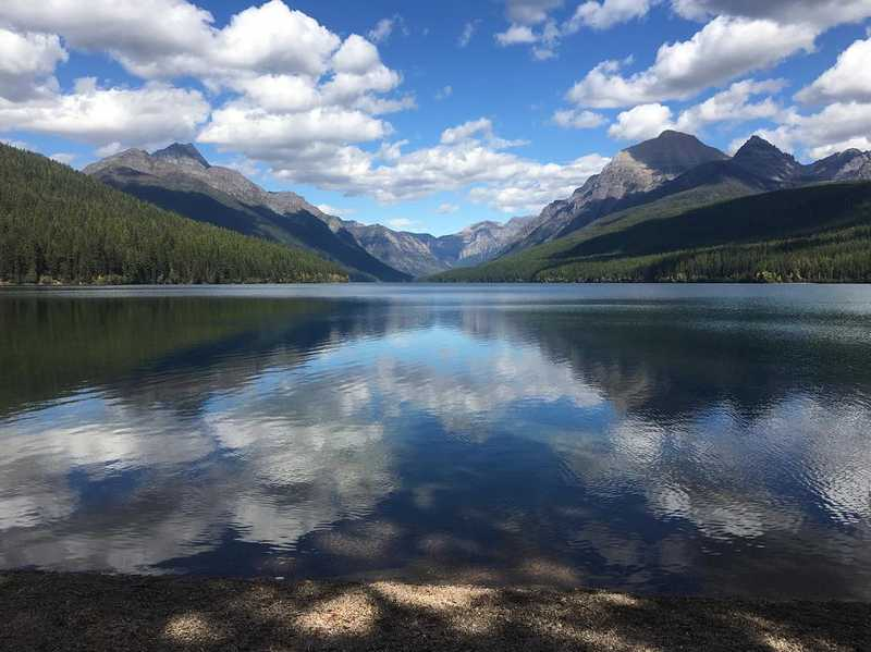 Reflective lake in Glacier National Park